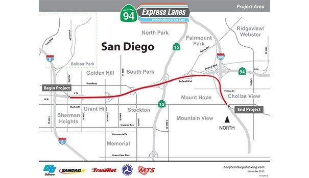 The SR 94 Express Lanes Project would connect I-805 South Express Lanes with Downtown by constructing two new Express Lanes along SR 94. (Courtesy of Caltrans)