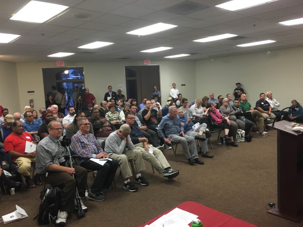 More than 100 people attended a forum on homelessness at the May 10 meeting of the Hillcrest Town Council. (Courtesy of HTC)