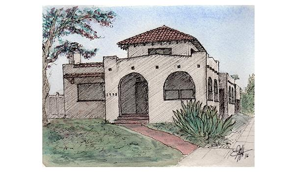 An artist's rendition of Rebecca Tuggle's 100-year-old house in South Park, part of the Historical Home Tour on June 18 (Illustration by Brandon Hubbard)