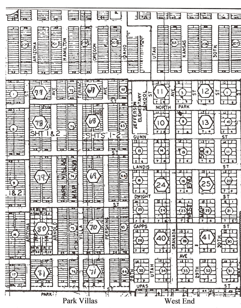 Stark contrasts in lot and street patterns within the Park Villas and West End subdivisions are evident in this excerpt from city mapping. (Courtesy of North Park Historical Society) [Click to enlarge]