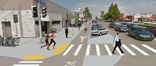 Visual simulation of how the busy intersection of University Avenue and Vermont Street in Hillcrest will look: a protected bike lane on the north side of the street and an enhanced crosswalk (Courtesy of SANDAG)