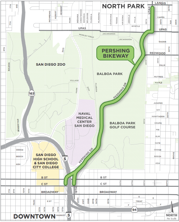 Route of Pershing Bikeway, from Landis and Utah streets on the north side to C Street to the south (Graphic courtesy of keepsandiegomoving.com) [Click to enlarge]