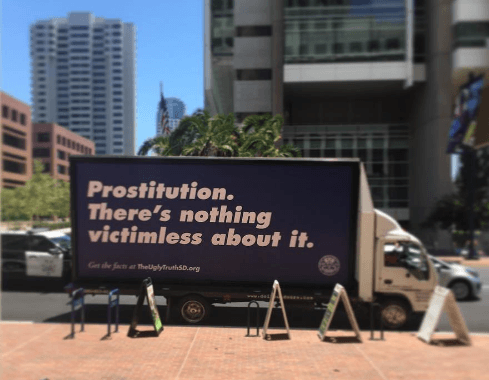 The San Diego County District Attorney's Office is fighting human trafficking with public service radio ads, bus stop signage, posters and (above) messaging on vans. (Courtesy of TheUglyTruthSD.org)