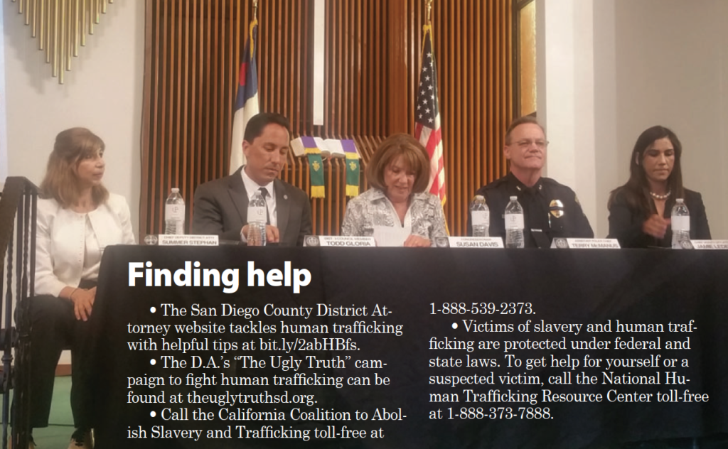 """(l to r) """"Human Trafficking"""" panelists Summer Stephan, chief deputy district attorney; Councilmember Todd Gloria; U.S. Rep. Susan A. Davis; Terry McManus, assistant police chief; and Jamie Ledezma, chief deputy city attorney (Photo by Ken Williams)"""