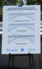 This board displayed at the construction groundbreaking event on July 19, shows original (top), existing (middle), and future retrofitted (bottom) views of the bridge. (Photo by Katherine Hon)