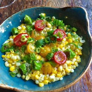 Roasted corn with tomatoes and shishito peppers (Photo courtesy of Bankers Hill Bar + Restaurant)