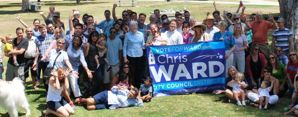 Chris Ward (white shirt behind sign) and his supporters (Courtesy of Chris Ward campaign)