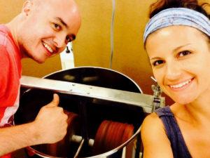 David Mejia and Sandra Bedoya churn up chocolate. (Courtesy of Nibble Chocolate)