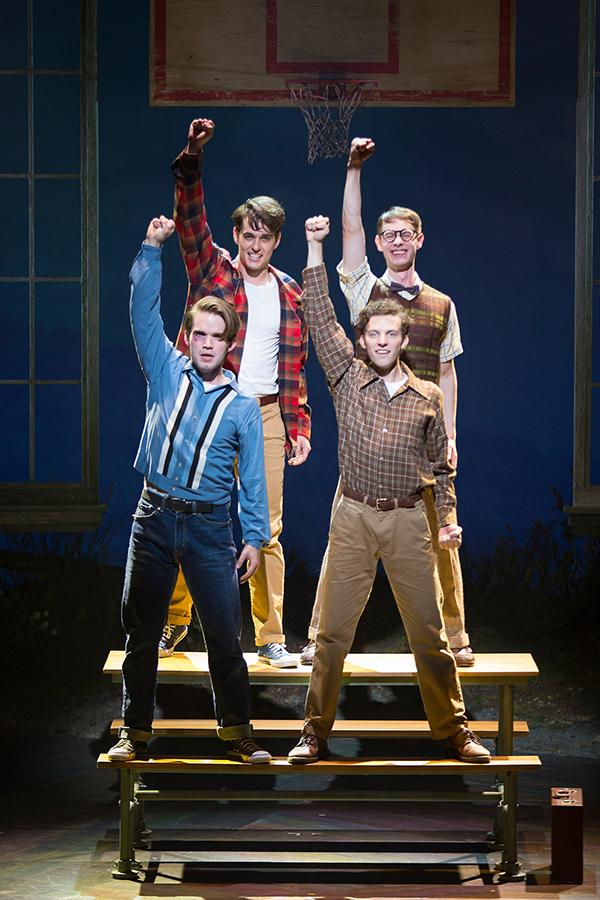 (clockwise from top left) Kyle Selig as Homer Hickam, Connor Russell as Quentin, Austyn Myers as O'Dell, and Patrick Rooney as Roy Lee