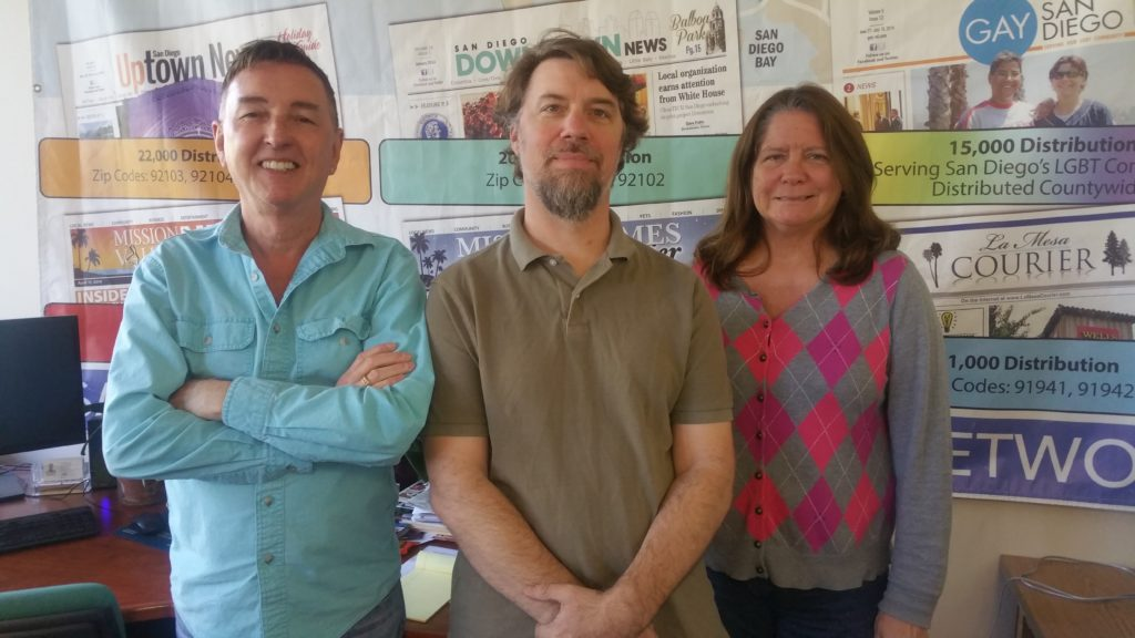 (l to r) SDCNN editors Ken Williams, Jeff Clemetson and Morgan M. Hurley (Photo by Todd Kammer)