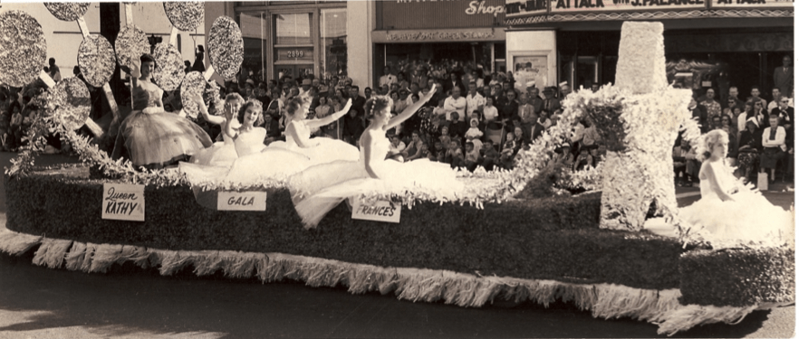Queen Kathy and her court in the 1956 Toyland Parade in North Park (Courtesy of North Park Historical Society)