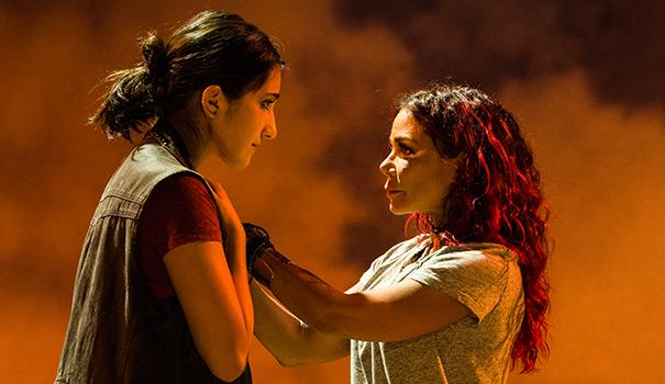 (l to r) Krystina Alabado (Olivia) and Daphne Rubin-Vega (Beatriz) play a mother and daughter who have a challenging relationship. (Photos by Jim Carmody)