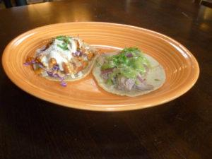 Jackfruit (left) and carnitas taco